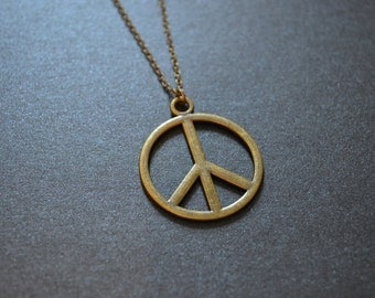 Peace Sign Long Necklace - Hippie Style Necklace - Long necklace