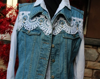 Jean Vest (M) Denim and Lace - from  our CARAUT-Alteredcollection of upcycled clothing - (Size M , 8-10)