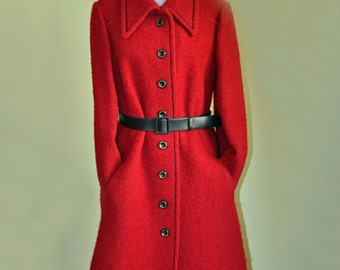 Vintage 1960's Red Boucle Harella Coat
