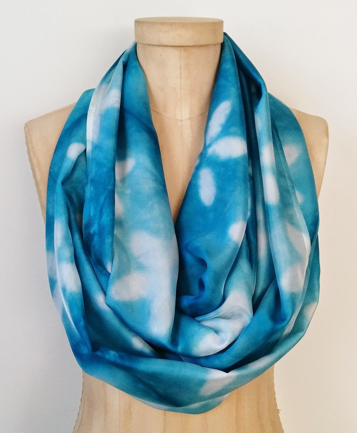 blue circle scarf dyed silk infinity scarf by
