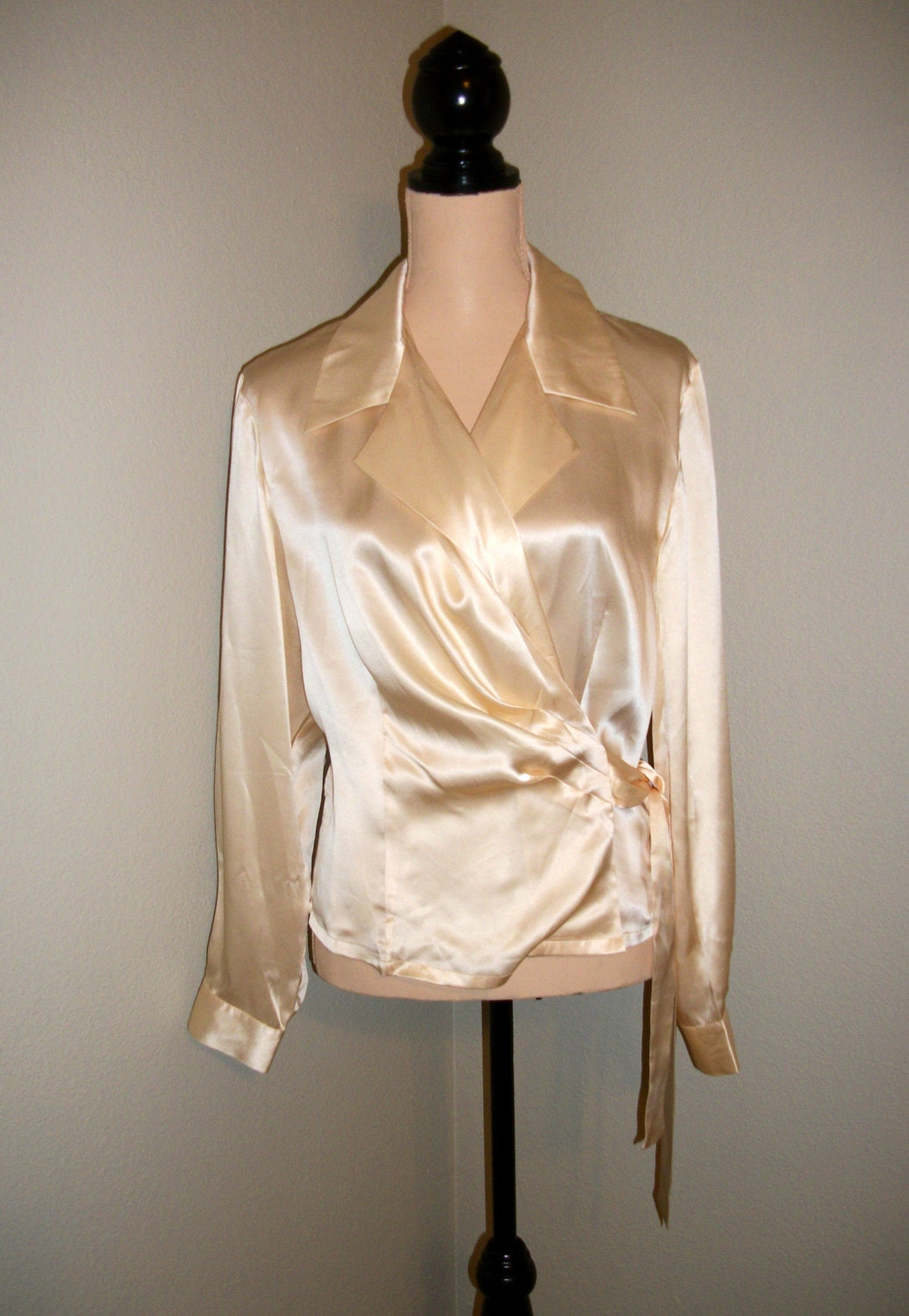Ivory Silk Blouse Cream Blouse Wrap Blouse Long by MintJulepShoppe