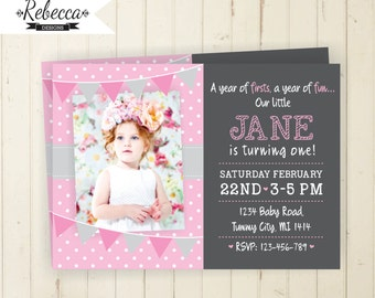 girl birthday invite pink birthday invite birthday invitation first birthday invitation pink and grey invitation chalkboard invitation baby