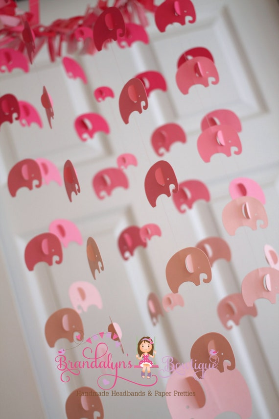 Elephant mobile Hot pink, pink and baby pink ombre mobile or you can CHOOSE YOUR COLORS! nursery mobile, nursery decoration, paper mobile