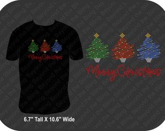 Christmas rhinestone bling shirt Christmas tree bling shirt Merry Christmas bling rhinestone shirt holiday bling shirt Christmas bling shirt