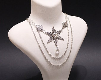 Snowflake Gothic necklace - Christmas gift jewelry with silver snowflake, ice crystal Swarovski stones and beads - Victorian Gothic Jewelry