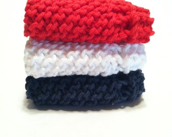 Dish Cloth Trio - Red, White, and Navy
