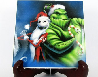 Jack and Oogie Boogie The Nightmare before Christmas Ceramic Tile  Skellington Tim Burton collectible wall art mod. 16