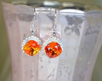 Fire Opal Swarovski Crystal Earrings - Silver w/ Rhinestone Trim