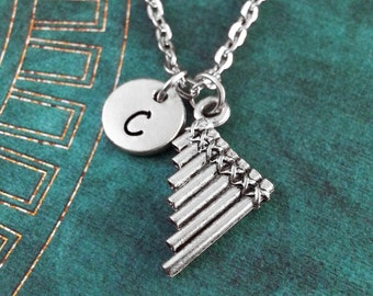 Pan Flute Necklace, SMALL Pan Flute Charm, Musician Gift, Flutist Gift Monogram Necklace Pan Flute Pendant Pan Flute Jewelry Pan Flute Gift