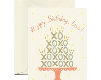 XO Cake Kisses & Hugs Birthday Card - ID: BIR053