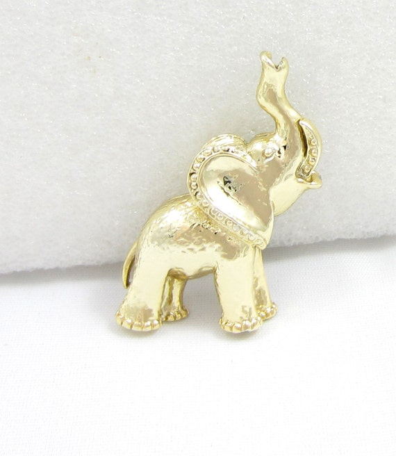 signed gerrys pin gold elephant brooch vintage animal jewelry