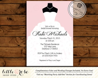 Wedding Dress Bridal Shower Invitation - Bridal Shower Invite - Printable Invitation - Digital File - Wedding Shower Invite - LR1005