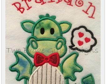Personalized Tuxedo Dragon Valentine's Shirt! Machine Embroidered Appliqued