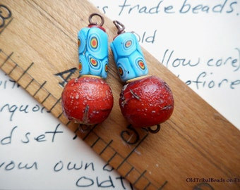 Matched pairs, earring ready, gnarly Antique African trade beads rare Cornaline d'Aleppo Hudson Bay