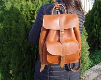 Leather Backpack - Leather Rucksack - Mens Leather backpack - Womens backpack - one pocket leather  backpack LARGE size