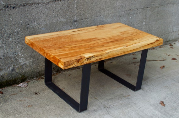 Spalted beech wood coffee table with steel by emeraldcityslabs for Beech coffee table