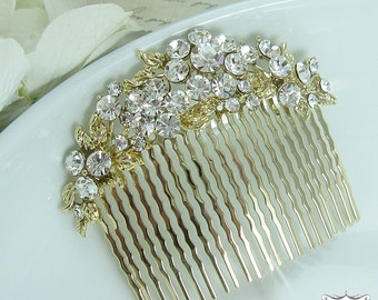Bridal hair accessories, gold wedding hair comb, floral crystal rhinestone hair comb hair comb wedding headpieces, gold comb 207015812