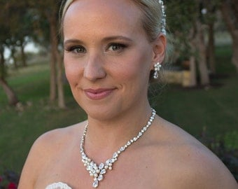 Freshwater pearl CZ jewelry set, CZ Pearl Wedding Necklace Set, bridal jewelry, jewelry set, pearl jewelry set, Morgan Pearl Jewelry Set