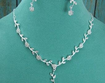 Rhinestone Jewelry Set, Crystal Wedding Necklace Set, bridal jewelry set, wedding jewelry set, bridesmaid jewelry set