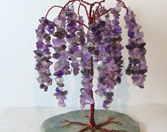 Crystal Tree Amethyst Wisteria Willow Sculpture (medium)