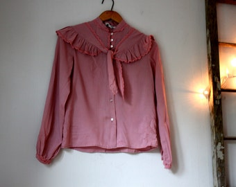 Vintage Romantic Rose/Pink Ruffle Blouse | Size small