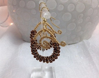 Coiled wire wrapped earrings