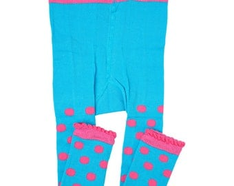 Teal and Pink Polkadot Leggings/ footless tights
