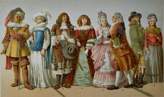 17th and 18th century clothes print. History engraving. 1901.Old book plate. 114 years color  lithograph.9'6 x6'2 inches.