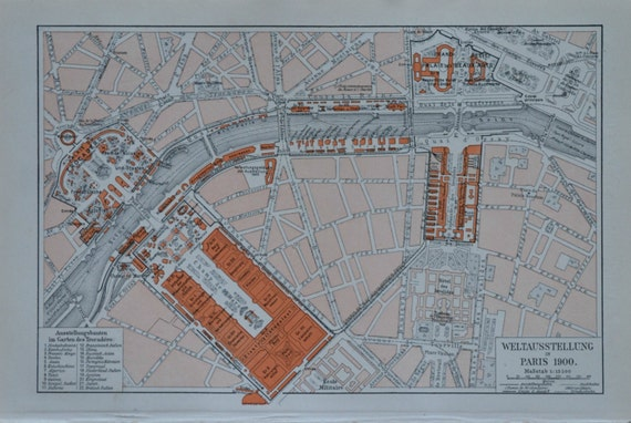 Drawing of the buildings exhibition in Paris in 1900.  Antique illustration. 114 years lithograph. 9'6 x 6'2 inches.
