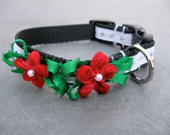 Red Velvet Christmas Flower XS Dog Collar