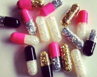 GOLD & SILVER Glitter Pills Custom Sparkly Kawaii Cute Shiny