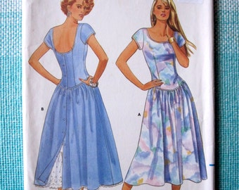 1980s Butterick 5652 Sewing Pattern Ladies Dress Dropped Waist Full Drindl Skirt Round Neckline Petticoat Ruffle Size 12-14-16 Bust 34-36-38
