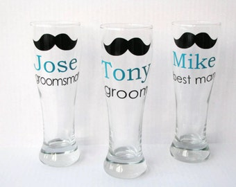 3 Personalized Groomsmen Beer Mugs, Groomsmen Pilsner Mugs, Groomsmen Gift, Best Man Gift
