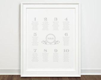 DIY Classic Grey Monogram Wedding Table Seating Chart