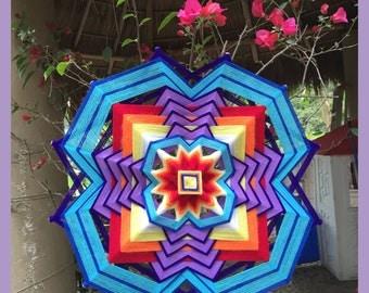 "yarn mandala, 'Vibrant', 23"" diameter, 12-sided, home decor, wall hanging"