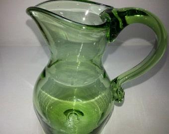 Hand Blown Glass Green Blown Glass Pitcher