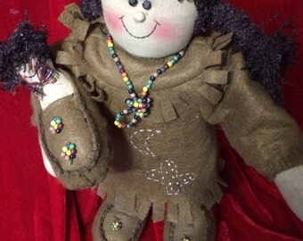 Folk Art Indian Girl with Papoose All Hand Made