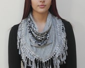 FREE SHIPPING in USA- Gray Jersey Triangle Fashion Scarf with Lace Detail and Matching Fringes/women's soft fringe shawl/gift for her
