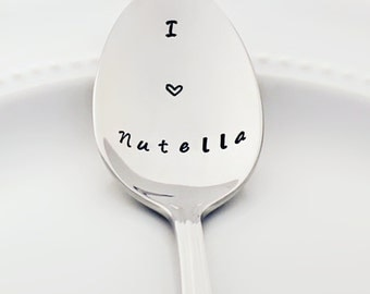 Stamped Spoon | I (heart) Nutella | Stainless Steel Teaspoon | Stamped Silverware | Birthday Gifts for Chocolate Lovers | Valentine Gift