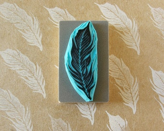 Bird feather rubber stamp, hand carved, wedding invitation stamping, clay stamping, clay impression