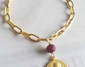 Bracelet - Saint Mary Magdalene Ruby - 18K Gold Vermeil