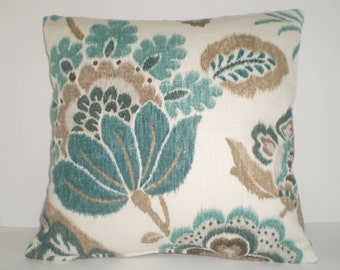 Decorative Handmade 16x16 Pillow Cover in a Floral Turquoise Print and Back Fabric in a Beige Fabric