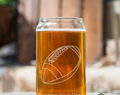 Football Customizable Etched Glassware Beer Can Glass Barware Gift