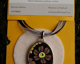 Polymer clay multicolor petals oval medallion necklace