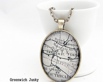 Personalised Vintage London Map Glass Pendant Necklace