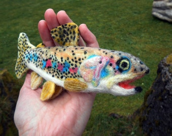Needle felted Guzman rainbow trout - Mexican trout soft sculpture - Fly fishing ornament