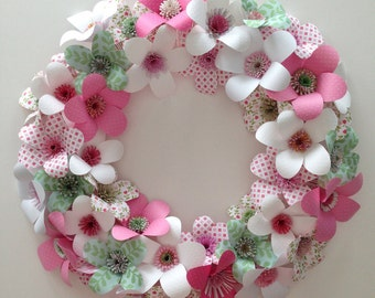 Wreath of Paper Flowers, Great for Spring, Easter, Mother's Day, or Weddings