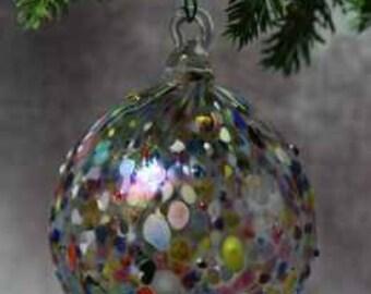 Hand blown Glass Bumpy Round  Christmas Ornament