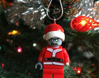 Zombie Santa Claus MiniFigure made with genuine LEGO®  parts / Christmas ornament / St. Nick / Holiday ornament