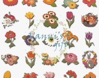 62 Flower Digital Download Scrapbooking Clip Art a17